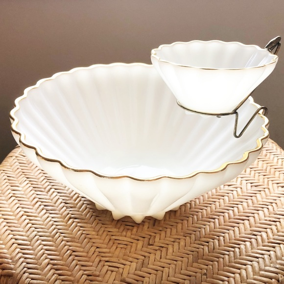 Vintage Milk Glass Gold Rim Tiered Serving Bowl